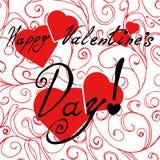 Carta felice di giorno del ` s del biglietto di S. Valentino con i cuori Fotografie Stock Libere da Diritti