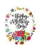 Carta felice di giorno del ` s della madre con la struttura dei fiori selvaggi e dell'iscrizione elegante Calligrafia felice di g royalty illustrazione gratis