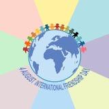 Carta felice di giorno di amicizia 4 agosto Fotografie Stock Libere da Diritti
