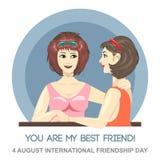 Carta felice di giorno di amicizia 4 agosto Immagine Stock Libera da Diritti