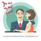 Carta felice di giorno di amicizia 4 amici donna di August Best ed abbraccio dell'uomo Fotografia Stock Libera da Diritti
