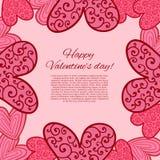 Carta felice di giorno di biglietti di S. Valentino. illustrazione di stock
