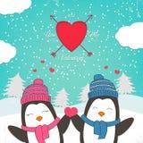 Carta felice di giorno di biglietti di S. Valentino con il pinguino sveglio delle coppie illustrazione di stock