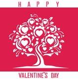 Carta felice di giorno di biglietti di S. Valentino con l'albero Illustrazione di Stock
