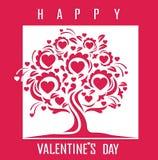Carta felice di giorno di biglietti di S. Valentino con l'albero Illustrazione Vettoriale