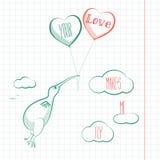 Carta felice di giorno di biglietti di S. Valentino con l'uccello, i baloons ed i cuori di kivi Vettore di Valentine Love Fotografie Stock Libere da Diritti