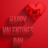 Carta felice di giorno di biglietti di S. Valentino del cuore del fondo Fotografia Stock