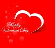 Carta felice di giorno di biglietti di S. Valentino, illustrazione rossa di vettore del fondo del cuore - eps10 illustrazione di stock