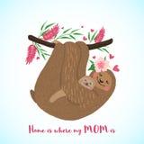 Carta felice di giorno di madri con i bradipi svegli royalty illustrazione gratis