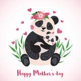 Carta felice di giorno di madri con i panda svegli illustrazione di stock