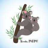 Carta felice di giorno di madri con le koale sveglie illustrazione vettoriale