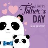 Carta felice di giorno di padri con gli orsi di panda illustrazione di stock