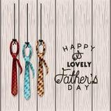 Carta felice di giorno di padri con i legami eleganti illustrazione di stock