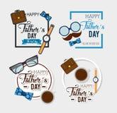 Carta felice di giorno di padri con la calligrafia e l'accessorio illustrazione di stock