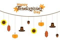 Carta felice di giorno di ringraziamento sull'illustrazione bianca del fondo illustrazione di stock