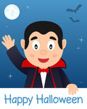Carta felice di Halloween con Dracula Fotografie Stock