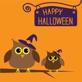 Carta felice di Halloween con i gufi. Immagini Stock Libere da Diritti