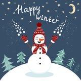 Carta felice di inverno con godere del pupazzo di neve nel vettore royalty illustrazione gratis