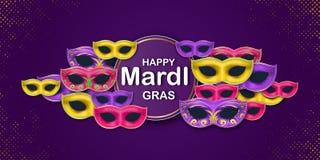 Carta felice di Mardi Gras Carnival Party con un'iscrizione e maschere di carnevale di travestimento su un contesto viola circus royalty illustrazione gratis