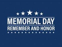 Carta felice di Memorial Day Festa americana nazionale Manifesto o insegna festivo con l'iscrizione della mano Illustrazione di v Immagini Stock