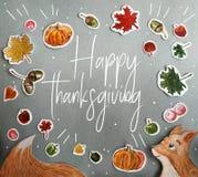 Carta felice di ringraziamento con i dettagli dell'acquerello fotografia stock