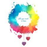 Carta felice di San Valentino con gli angeli per la vostra progettazione Fotografia Stock Libera da Diritti