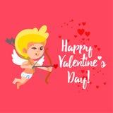 Carta felice di San Valentino con il cupido del fumetto che punta su scopo Fotografia Stock