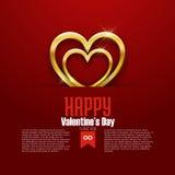 Carta felice di San Valentino, cuore dorato su fondo rosso, vettore Fotografie Stock