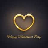Carta felice di San Valentino, cuore dorato su fondo scuro, vettore Fotografie Stock