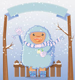 Carta felice di vacanza invernale degli yeti Fotografia Stock Libera da Diritti