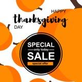 Carta felice di vendita di giorno di ringraziamento con le zucche illustrazione di stock