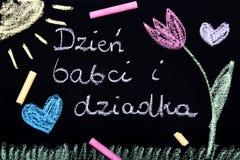 Carta felice polacca di giorno dei nonni con le parole: Giorno dei nonni e delle nonne Fotografie Stock Libere da Diritti