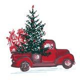 Carta festiva del nuovo anno 2018 Il camion rosso con l'albero di abete ha decorato le palle rosse isolate su fondo bianco Fotografia Stock