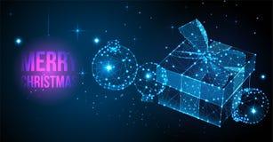 Carta festiva del regalo di Buon Natale Poli carta bassa moderna con il contenitore di regalo, il nastro, l'arco e le palle di Na illustrazione vettoriale