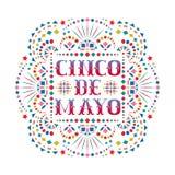 Carta festiva di Cinco de Mayo con testo variopinto ed il motivo messicano del ricamo illustrazione vettoriale
