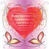 Carta festiva di festa con cuore e le farfalle rossi illustrazione vettoriale