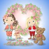 Carta festiva per le nozze o una corona di compleanno delle rose Fotografia Stock