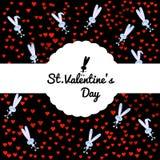 Carta festiva su fondo nero con un coniglietto grigio sveglio e coriandoli dai cuori rossi Contenitore scolpito rotondo di confin illustrazione di stock