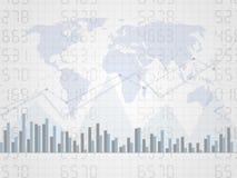 Carta financeira abstrata com gráfico linear uptrend no número e no mapa do mundo Candle o gráfico da vara do investimento que tr Imagem de Stock