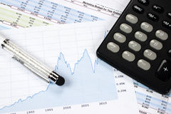 Carta financeira com pena e calculadora do estilete Fotos de Stock Royalty Free