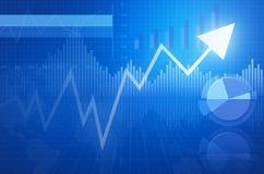 A carta financeira e os gráficos do negócio e com seta dirigem Fotografia de Stock