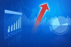 A carta financeira e os gráficos do negócio e com seta dirigem Fotos de Stock
