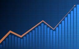 Carta financiera abstracta con la flecha y carta de barra en mercado de acción en fondo azul del color Fotografía de archivo