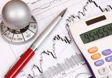 Carta financiera con una calculadora y una pluma roja Fotos de archivo libres de regalías