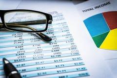 Carta financiera de las estadísticas del mercado de acción con la calculadora, mercado de acción financiero comercial imagen de archivo