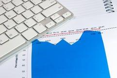 Carta financiera del gráfico con el cuaderno y el teclado Concepto del asunto Imagenes de archivo