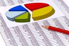 Carta financiera en la tabla de datos Foto de archivo