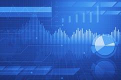 Carta financiera y gráficos de negocio y