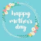 Carta floreale blu di festa della mamma felice Fotografia Stock