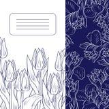 Carta floreale con i tulipani e le iridi illustrazione vettoriale